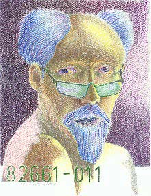 Color self-portrait, pencil on paper, 1993